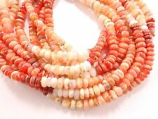"""Mexican Fire Opal Gemstone Smooth Rondelle Beads 13"""" strand 3.5mm-4mm loose bead"""