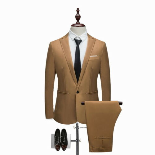 US 2PCS Men Blazer Suit Slim Fit Tuxedo Coat Pants Trousers Formal Wedding Groom