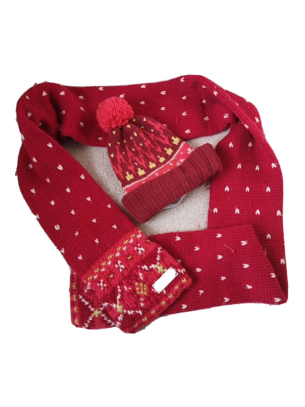 Jack Will's Red Scarf And Bobble Hat Set