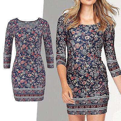 wow Jerseykleid Stretch Kleid Gr.32 XS SHIRTKLEID blau Blumen Muster Paisley