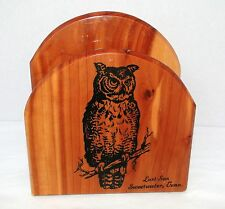 Vintage LOST SEA SWEETWATER, TENNESSEE souvenir wooden owl napkin holder