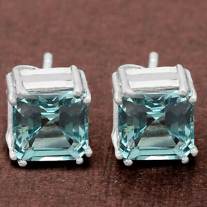Simulated-Aquamarine-Stud-925-Sterling-Silver-Earrings-Jewelry-DGE1002-I