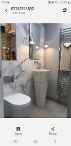 Free Standing White / Cream Marble Pedestal Sink 90 cm x 40 cm ( Cono Model )