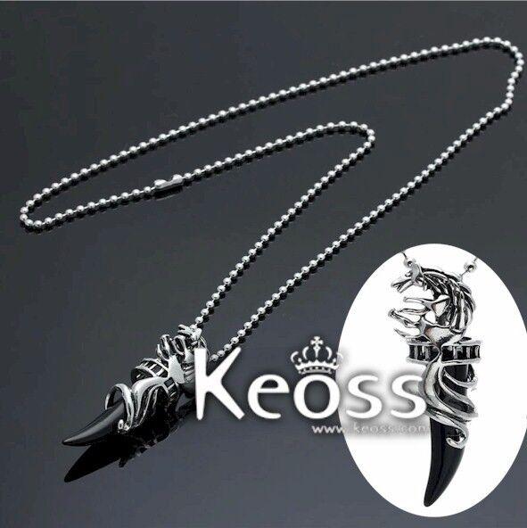 Collana Keoss Con pendente LUPO e Cristallo vetro NERO Elegante UOMO DONNA