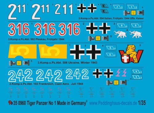 Peddinghaus-Decals 1//35 0960 Tiger I Panzer 1