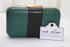 ME CHAR Fall 2012 EDITH CLUTCH Kelly Green Black Leather Bag Handbag Purse NEW