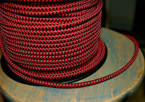 Black & Red Cloth Covered 3-Wire Round Pulley Cord, Vintage Pendant Lights, Fans