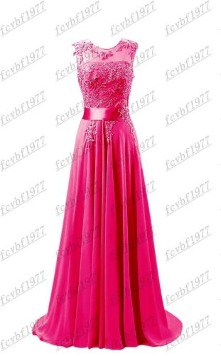 Long Chiffon Lace Evening Formal Party Ball Gown Prom Bridesmaid Dress Size 6~26