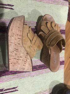 a096a490346 Casadei Tan Suede Fringe Cork Platform Wedge Sandal Western Shoes ...