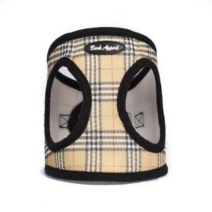 Bark-Appeal-EZ-Wrap-Plaid-Mesh-Dog-Step-In-Harness-Tan-Sizes-XXS-XXL