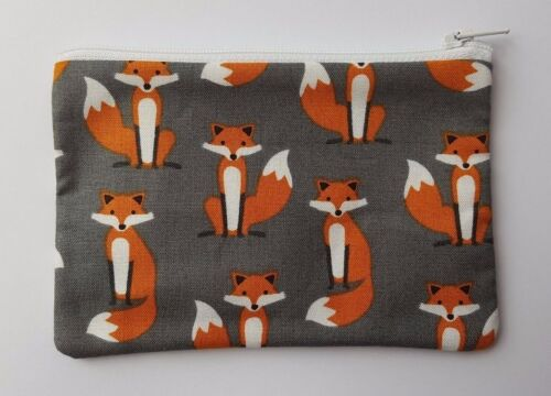Fabulous Foxes Charcoal Fabric Handmade Zippy Coin Purse Storage Pouch