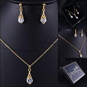 Schmuckset-Halskette-Ohrhaenger-Tropfen-Gelbgold-pl-Swarovski-Elements-Etui
