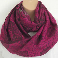 Quality Winter Weight Raspberry & Black Paisley Print Loop Infinity Scarf Snood