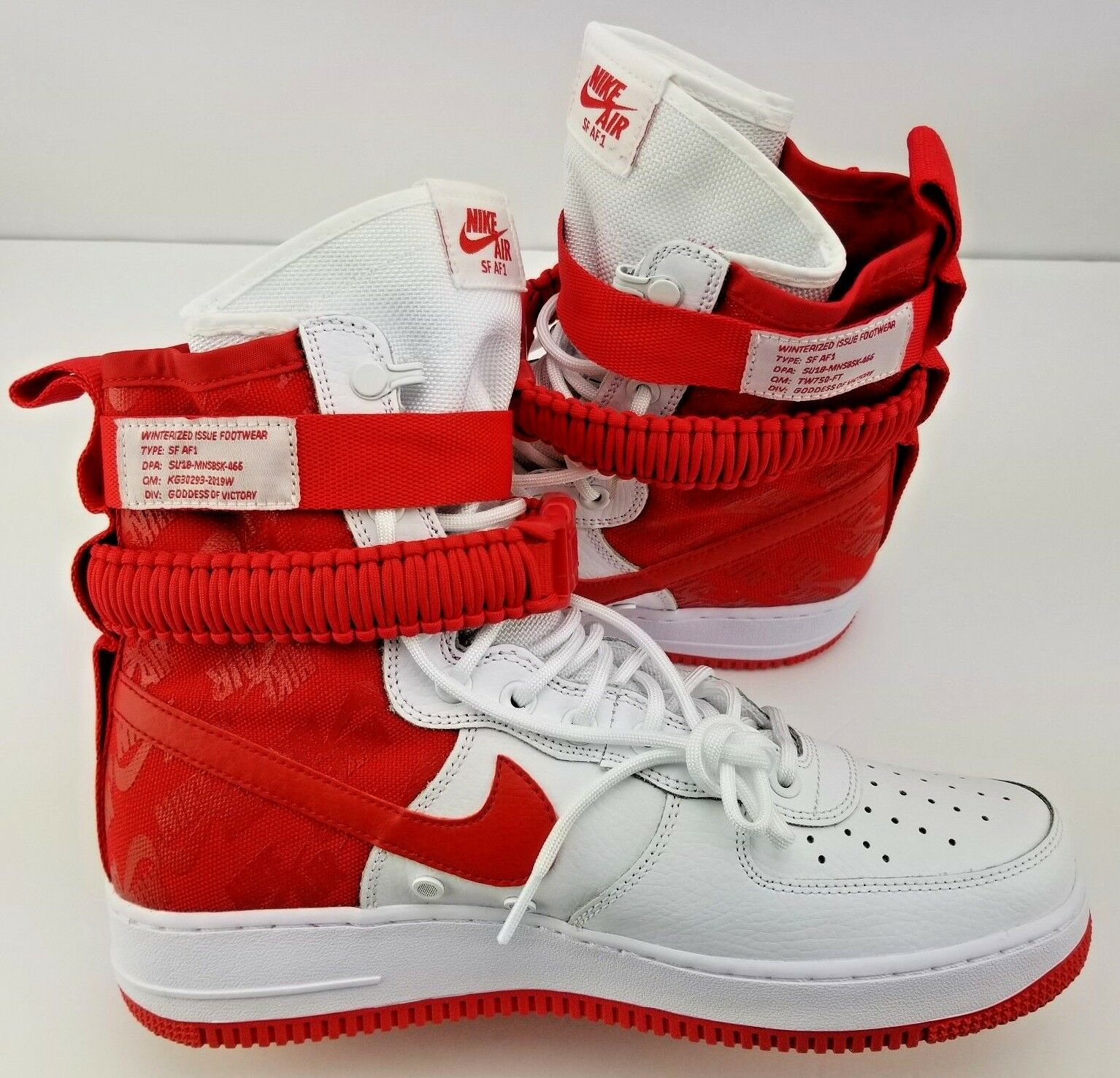 Nike Men's SF AF1 AIR FORCE 1 AR1955-100 White Red shoes Size  10