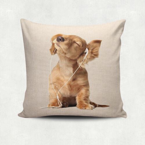 """18/"""" Carré Taie d/'oreiller en LIN adorable chien Décoratif Canapé Housse De Coussin"""