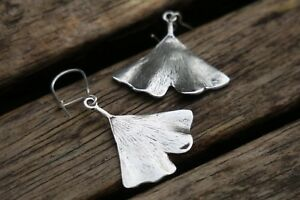 Image Is Loading Silver Ginkgo Leaf Earrings Sterling