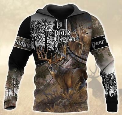 Love Deer Hunting Hoodie 3D Print M 3XL