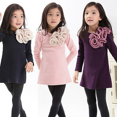 New Baby Kids Girls Princess Party Shouder Flowers Long Sleeve Dress Skirts 2-7Y