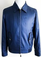 $3600 Brioni Blue Waterproof Silk Jacket Coat With Leather Trim Size Xl
