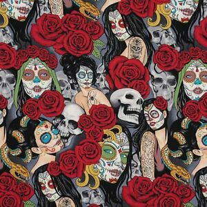 Alexander-Henry-Nocturna-Day-of-the-Dead-Pin-ups-amp-Skulls-8664-Brite-Fabric-BTY