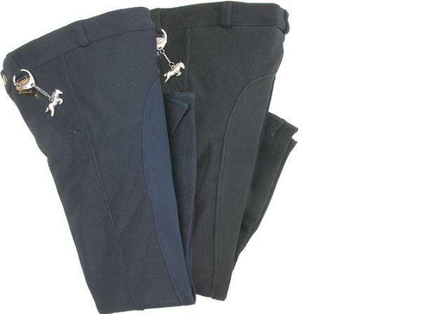 USG Bambini Pantaloni da equitazione, Katja con toppa in pelle pieno, Taglia 146, Nero