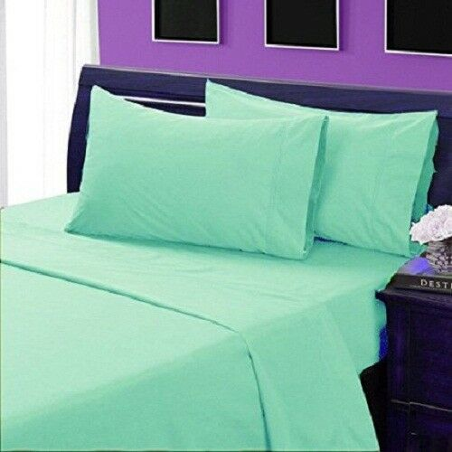 4 PCs Sheet Set Aqua blueeeee Solid Cozy 100% Pima Cotton 1000 Thread Count