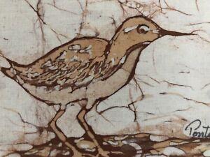 Sandpiper-Beach-Birds-Woodcut-On-Silk-Framed-Original-Signed-Set-of-2-Coastal