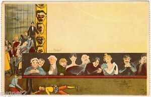 POSTCARD-FRENCH-THEATRE-WITH-MARIONETTE-PUPPETS-SIGNED-CLEMENT