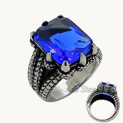 MEN'S Dragon Claw Sapphire Blue CZ 316L Stainless Steel Biker Ring US size 8-15