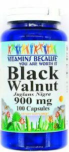 900mg-Black-Walnut-Hull-100-Capsules-Herbal-Parasite-Bacteria-Cleanse-VB