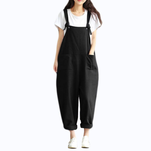 Women/'s Casual Loose Linen Cotton Jumpsuit Dungarees Playsuit Trousers Overalls