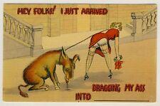 USA NUDE BUTT BLOND & DONKEY / BLONDINE NACKTER PO & ESEL * Humor AK um 1930
