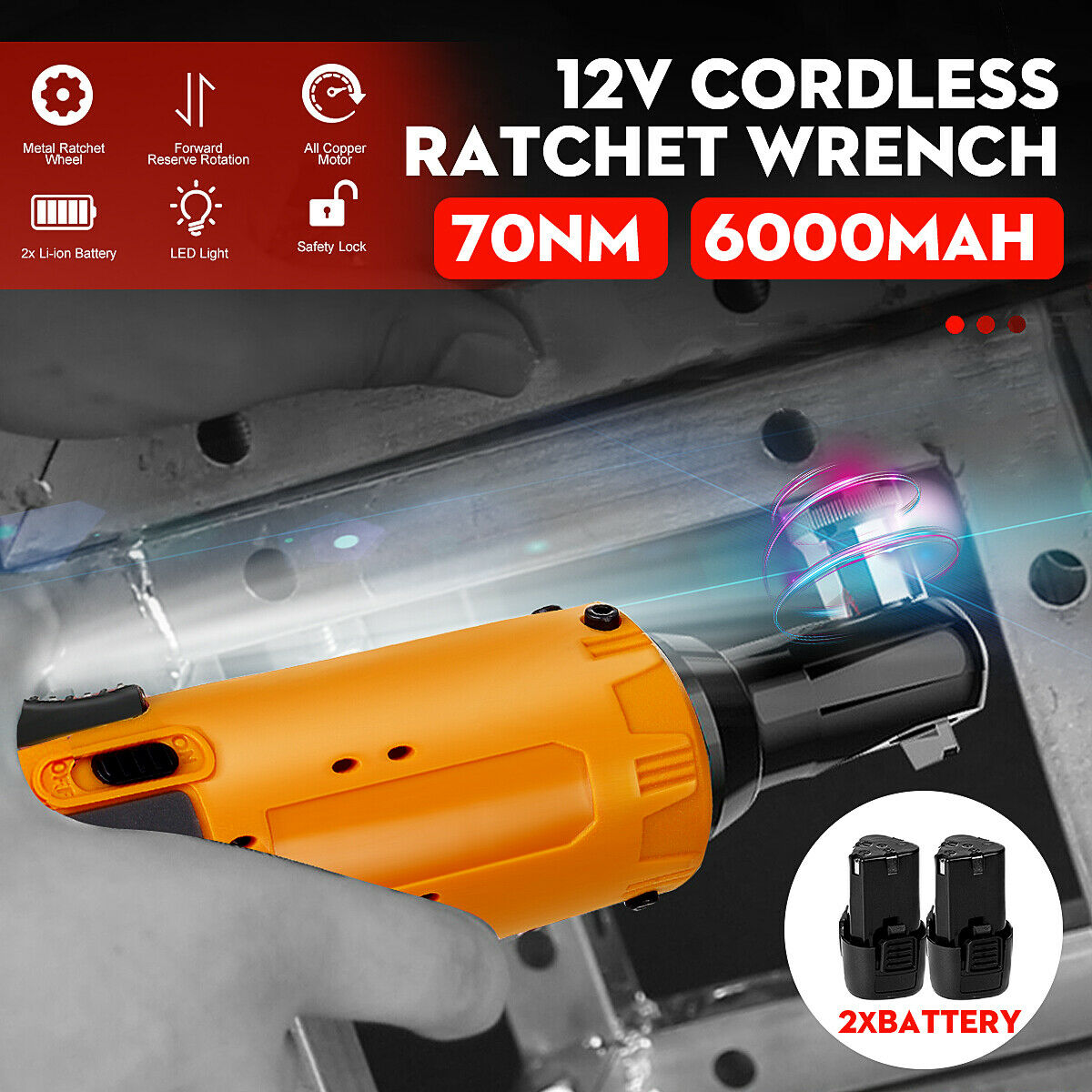 12V 70Nm 3//8/'/' Cordless Electric Ratchet Wrench Right Angle Wrench /& 1-2xBattery