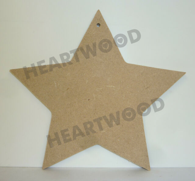 STAR WITH HANGING HOLE IN MDF (155mm high/12mm thick)/WOODEN SHAPE/DECORATION