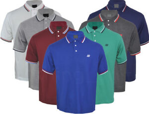 Mens-Short-Sleeve-Plain-Tipping-Polo-Shirt-T-Shirt-Top-Casual-Cotton-Mix-M-2XL