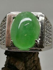 Ice Green Burmese Jadeite Jade Ring/冰种阳绿天然缅甸翡翠戒指/ナチュラルビルマ翡翠リング