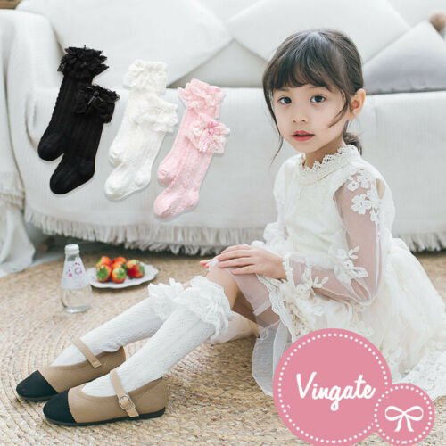 Baby Girls Kids Toddler Vintage Frilly Lace Knee High School Wedding Party Socks