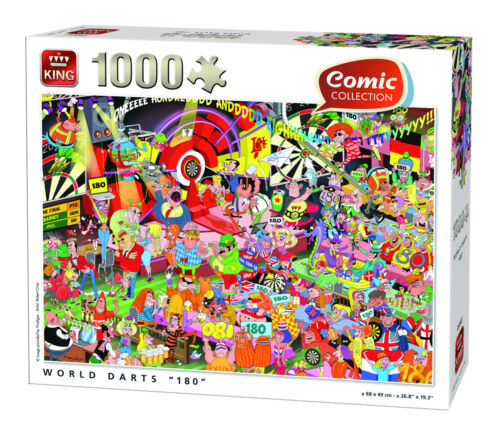 "1000 Piece Funny Comic Jigsaw Puzzle World Darts /""180/"" Arrows Championship 05547"