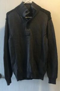 NWT-Helix-Gray-with-Black-Button-Turtleneck-Sweater-Size-Medium