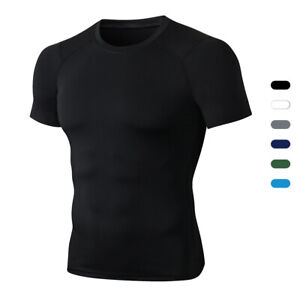Mens Compression Workout T-shirt Running Training Basketball Gym Quick Dry Tops
