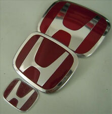 3PCS SET Red H Emblem  08-15 HONDA ACCORD SEDAN 4Dr Front + Rear+Steering Wheel