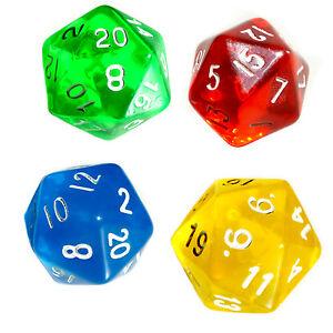 Transparente-20-Seitige-Wuerfel-W20-1-20-versch-Farben-Packs-Gruen-Rot-Blau-Gelb