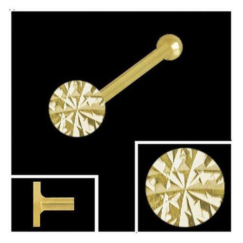 750 Gold Nasenpiercing rund 2,5 mm diamantiert Nasenstecker Kugelstift