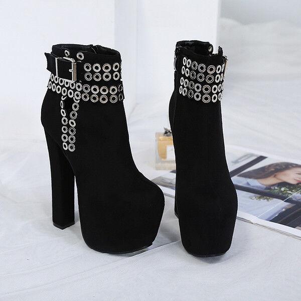stivali stivaletti bassi scarpe stiletto nero plateau 14.5 cm simil pelle 9737