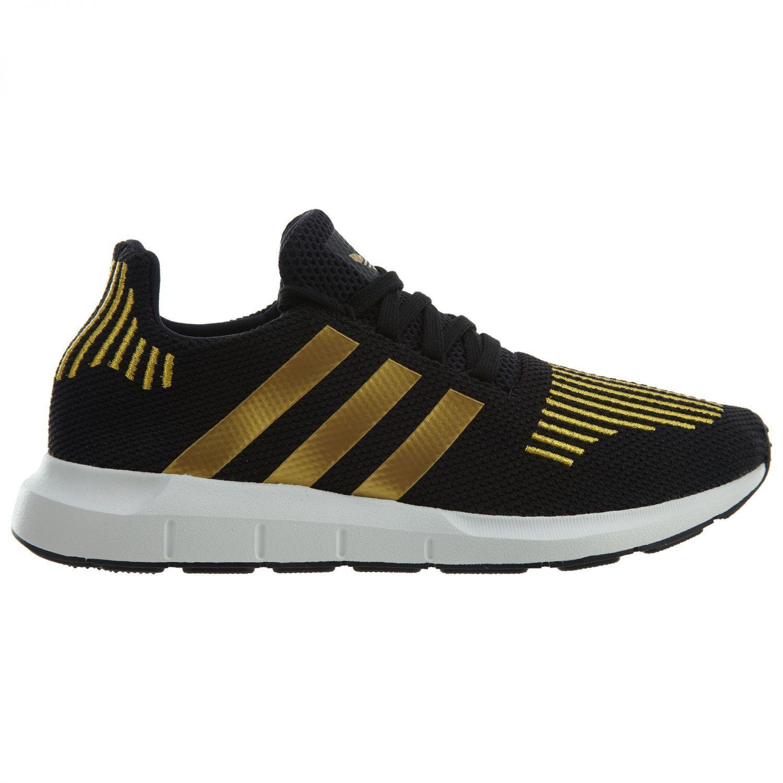 Adidas Swift Run Womens CG4145 Black Gold Metallic Knit Running Shoes Size 7
