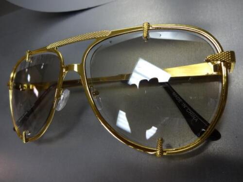 Men/'s or Women VINTAGE RETRO Style SUN GLASSES Gold Frame Clear Lens Slight Tint