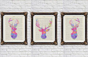Stag-head-prints-set-wall-hanging-decor-deer-head-Alice-in-wonderland-prints-too