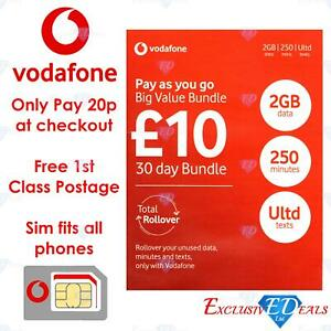 Details about Vodafone Sim Card £10 Pack ONLY 20p @ CHECKOUT 1st Class  Delivery Data Mins Text