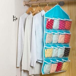 16-Pocket-Over-Door-Hanging-Bag-Shoe-Rack-Hanger-Storage-Tidy-Organizer-Blue-H