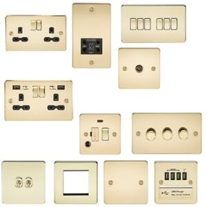 Incredible Polished Brass Flat Plate Slim Socket Switch Toggle Usb Spur Dimmer Wiring Digital Resources Inklcompassionincorg